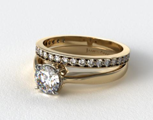 18k Yellow Gold 2.2mm Wire Basket Solitaire Ring & 0.17ct Pave Set Diamond Wedding Ring