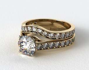 18k Yellow Gold 0.35ct Pave Cathedral Engagement Ring & 0.42ctw Curved Pave Wedding Ring