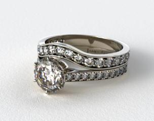 Platinum 2.6mm Six Prong Pave Diamond Engagement Ring & 0.42ct Pave Set Wedding Ring
