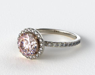 18k White Gold 0.39ct Diamond Halo Pave Engagement Ring (Rose Gold Basket)