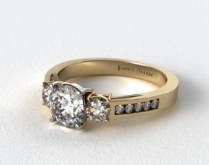 18k Yellow Gold Round Shaped Three Stone Channel Set Diamond Engagement Ring