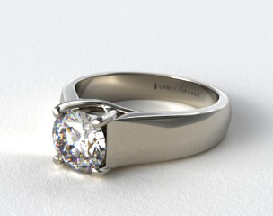 Platinum Wide Cross Prong Solitaire Engagement Ring