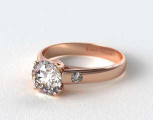 14K Rose Gold Cross Prong Diamond Accent Solitaire Ring