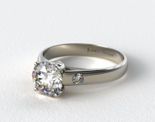 18k White Gold Cross Prong Diamond Accent Solitaire Ring
