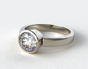 18k White Gold Bezel Set Round Shaped Diamond Solitaire Ring