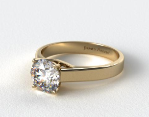 14k Yellow Gold 3.3mm Cross Prong Solitaire Engagement Ring