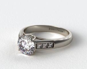 14k White Gold Cross Prong Princess Shaped Diamond Engagement Ring