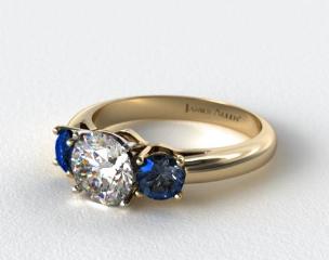18k Yellow Gold Three Stone Round Blue Sapphire Engagement Ring