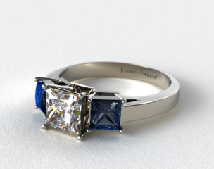 18K White Gold Three Stone Princess Shaped Blue Sapphire Engagement Ring