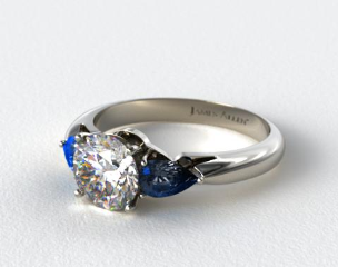 14k White Gold Three Stone Pear Shaped Blue Sapphire Engagement Ring