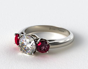 Platinum Three Stone Round Ruby Engagement Ring