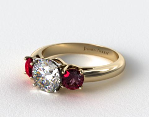 18k Yellow Gold Three Stone Round Ruby Engagement Ring
