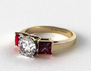 14k Yellow Gold Three Stone Princess Shaped Ruby Engagement Ring
