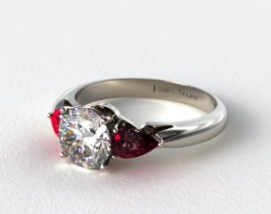 18k White Gold Three Stone Pear Shaped Ruby Engagement Ring