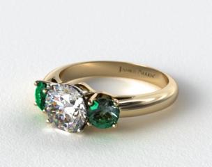 18k Yellow Gold Three Stone Round Emerald Engagement Ring