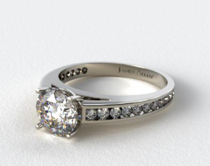 18k White Gold Channel Set Round Diamond Engagement Ring