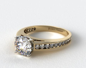 14k Yellow Gold Channel Set Round Diamond Engagement Ring