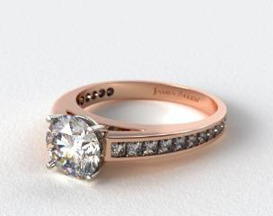 14K Rose Gold Channel Set Princess Shaped Diamond Engagement Ring