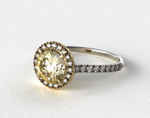 18k White Gold 0.29ctw Halo Pave Set Diamond Engagement Ring (Yellow Gold Basket)
