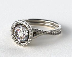 18k White Gold Pave Halo and Twisted Shank Solitaire