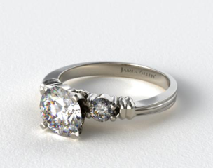 Platinum Open Groove Round Diamond Engagement Ring