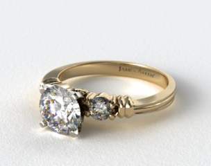 14k Yellow Gold Open Groove Round Diamond Engagement Ring