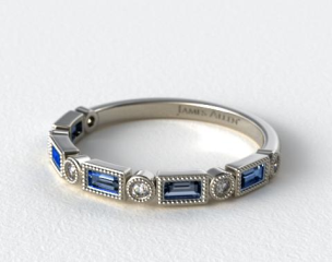 18K White Gold Round and Sapphire Baguette Vintage Milgrain Diamond Wedding Ring