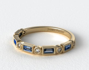 18K Yellow Gold Round and Sapphire Baguette Vintage Milgrain Diamond Wedding Ring