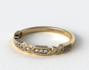14K Yellow Gold Round Brilliant Diamond and Arrow Shape Wedding Ring