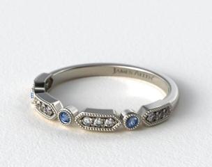 18K White Gold Blue Sapphire and Diamond Arrow Shape Wedding Ring