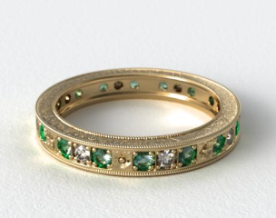 18K Yellow Gold Hand Engraved Floral Wedding Ring
