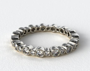 Platinum Alternating Bezel Eternity Wedding Ring