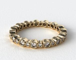 14K Yellow Gold Alternating Bezel Eternity Wedding Ring