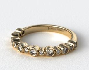 14K Yellow Gold Alternating Bezel  Wedding Ring