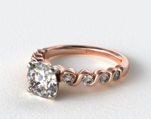 14K Rose Gold Eight Stone Diamond Engagement Ring