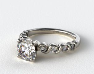 Platinum Eight Stone Diamond Engagement Ring