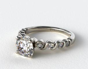 14K White Gold Eight Stone Diamond Engagement Ring