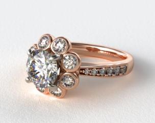 14K Rose Gold Vintage Flower Halo Engagement Ring