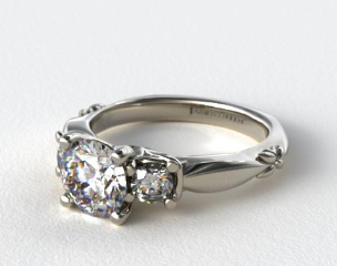 Platinum Floret Diamond Engagement  Ring