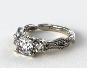 14K White Gold Open Wire Diamond Engagement Ring
