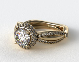 14K Yellow Gold Double Halo Diamond Engagement Ring