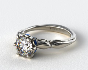 14K White Gold Sapphire Bezel Diamond Engagement Ring