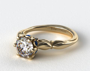 18K Yellow Gold Sapphire Bezel Diamond Engagement Ring