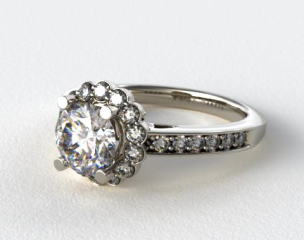 Platinum Scallop Diamond Halo Engagement Ring