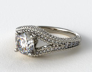 18K White Gold Open Split Diamond Engagement Ring