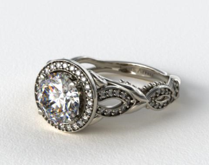 Scrolling Pave Heart Diamond Engagement Ring