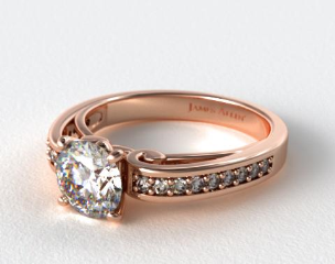 14K Rose Gold Arched Scroll Diamond Engagement Ring