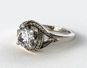 14K White Gold Love Knot Diamond Engagement Ring