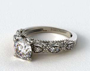 18K White Gold Beaded Open Span Diamond Engagement Ring