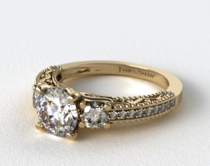 18K Yellow Gold Floral Scroll Engagement Ring